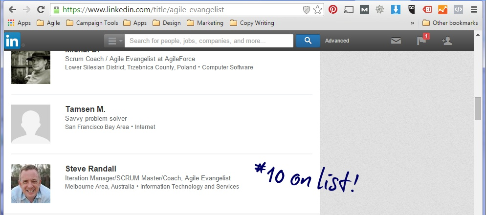 Steve Randall listed in Top 25 Agile Evangelists On Linked in